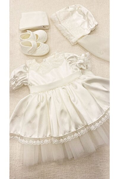 Pugi Baby Kız Bebek Mevlüt Elbisesi Lora Bonnet Şapka 4 Parça