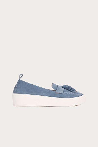 Bueno Shoes Bueno Mavi Süet Kadın Düz Babet