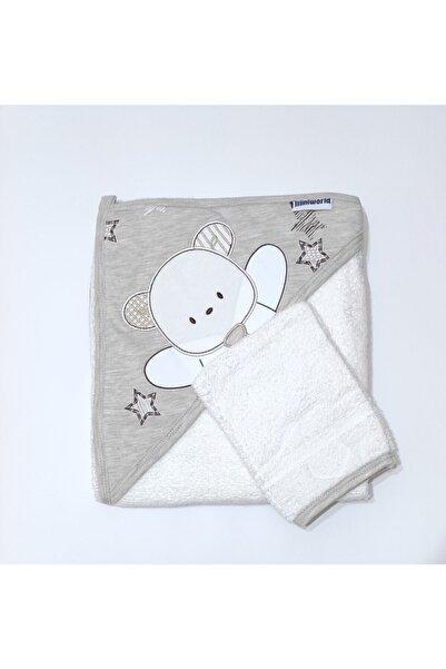 Miniworld Unisex Tavşan Desenli Bebek Banyo Havlu-silgi Takımı 85cmx90cm Açık Kahve