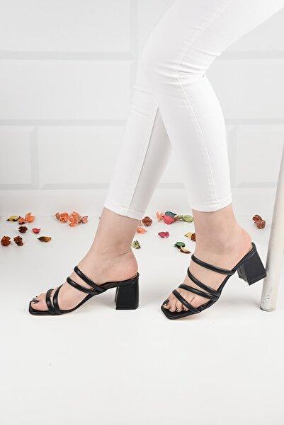 Weynes Kadın Siyah Deri Topuklu Terlik Sandalet Ba20888