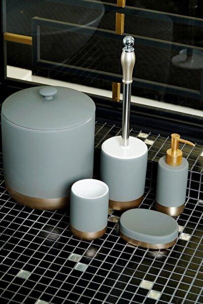 AROW Lagulın 5 Parça Çöp Kovalı Banyo Takımı Seti (Gri-gold)