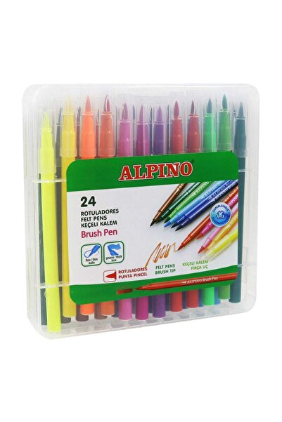 Alpıno Alpino Fırça Uçlu Keçeli Kalem 24 Renk