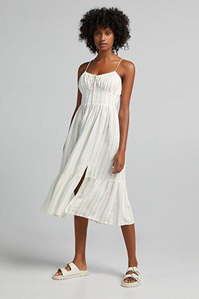 Bershka Çizgili Fırfırlı Uzun Keten Elbise