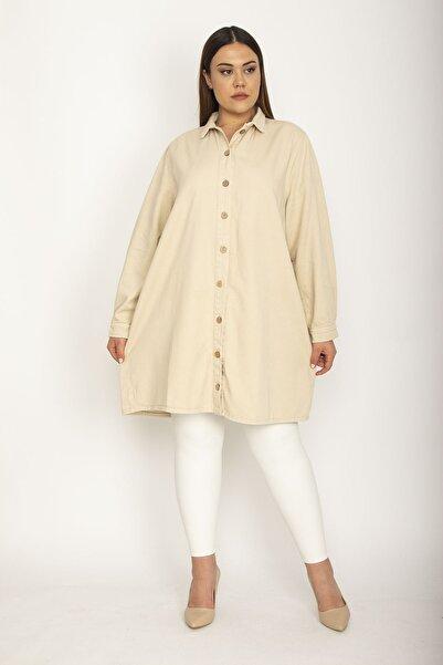 Şans Kadın Camel Pamuklu Gabardin Kumaş Ön Boy Düğmeli Gömlek Ceket 65N26185