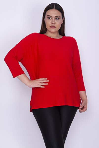 Şans Kadın Kırmızı Önü Gofreli Kumaş Kapri Kollu Bluz 65N26220