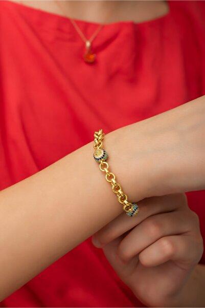 SUNSHINE Nazar Boncuklu Gold Zirkon Taşlı Gümüş Bileklik