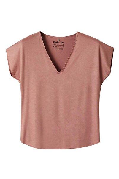 BASIC&CO Vogue V Yaka Viskon Terracotta Basic T-shirt