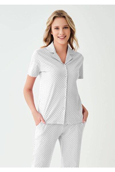 Eros Pijama Kısa Kollu Puantiyeli Kadın Pijama Takımı 28706