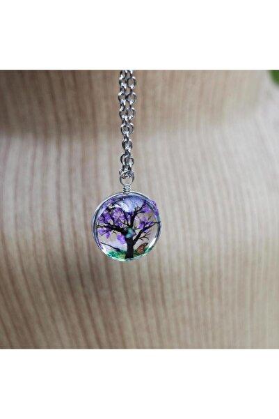 beyloc Kadın Yaşayan Kolye Ağaç Dallar Mor Çiçek Yuvarlak Model Kolye