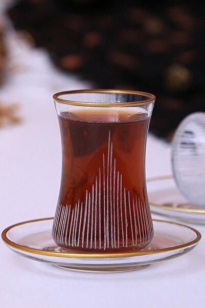 Calvino Desenli Yaldız Baskı 12 Parça 6 Kişilik Çay Bardağı Takımı Seti