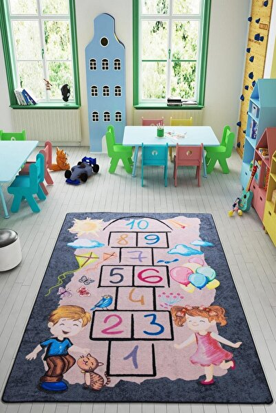 Confetti Street Game 200x290 Cm Gri Bukle Çocuk Halısı