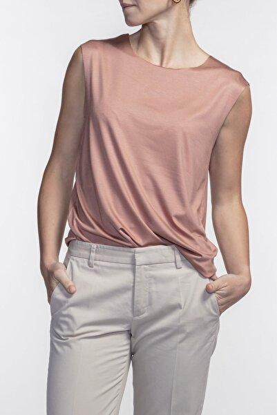 BASIC&CO Kadın Harper Terracotta Viskon Kolsuz T-shirt