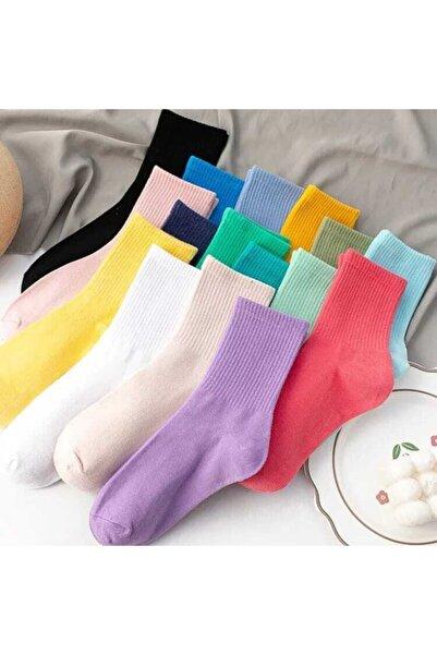 SOYTEMİZ ÇORAP Düz Renkler Cotton Kolej Çorap 10 Çift