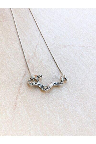 EUROMODA Viper Yılanı Tasarımlı Gümüş Kaplamalı Zincirli Kolye