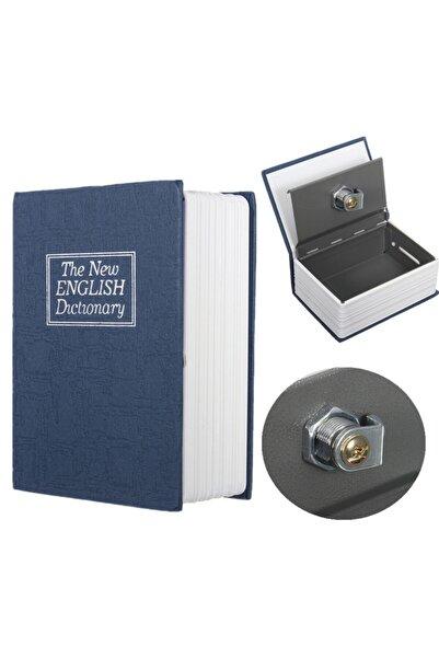 Triline Sözlük Görünümlü 18cm Kasa Kitap Para Gizli Güvenli Kilitli - Lacivert