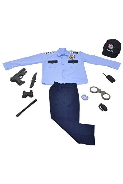 Liyavera Unisex Çocuk Mavi Türk Polis Kostümü Kıyafeti