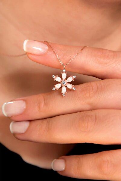Papatya Silver 925 Ayar Gümüş Rose Kaplama Beyaz Sedef Mineli Kamelya Çiçeği Kolye