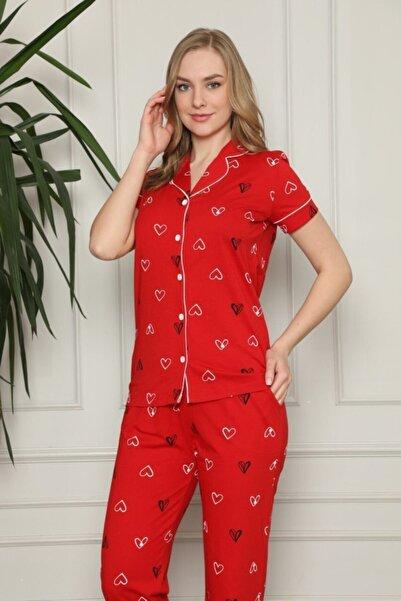 ALİMER Kadın Kırmızı Kalp Desenli Önden Düğmeli Gömlek Yaka Kısa Kollu Pijama Takımı 2581ky