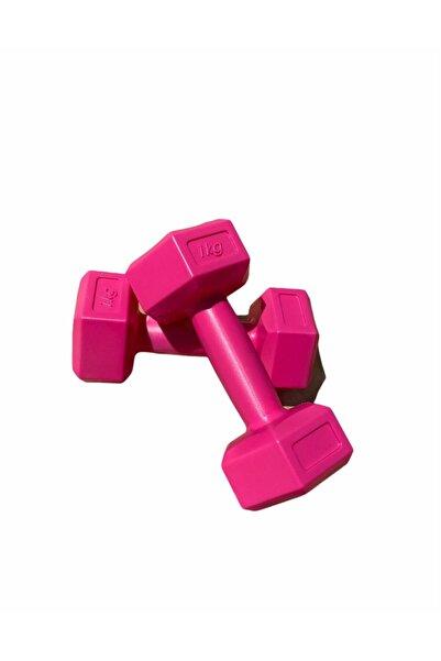 SHOPHANGAR Fuşya Pembe Plastik Köşeli 1kg 2 Adet Mini Plates Fitness Seti Mini Dambıl Seti