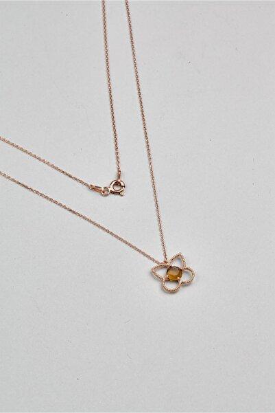 So CHIC... Kristal Çiçek 18 Ayar Rose Altın Kaplama Gümüş Kolye