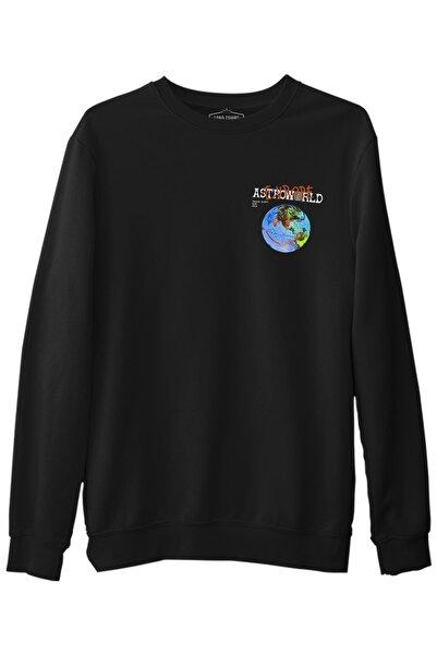 Lord T-Shirt Travis Scott - Astro World Logo Siyah Erkek Kalın Sweatshirt