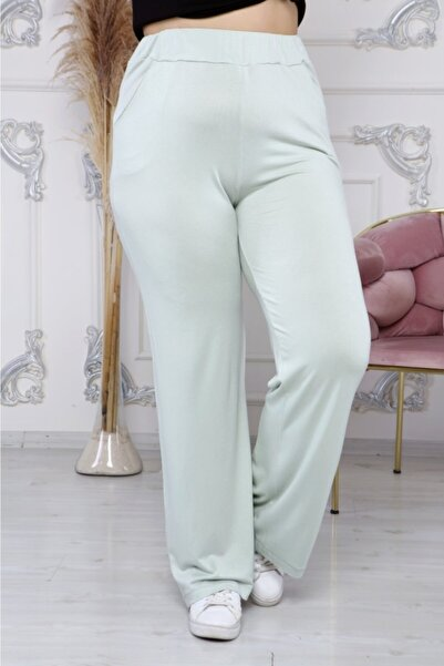 EMEZ Kadın Su Yeşili Salaş Pantolon