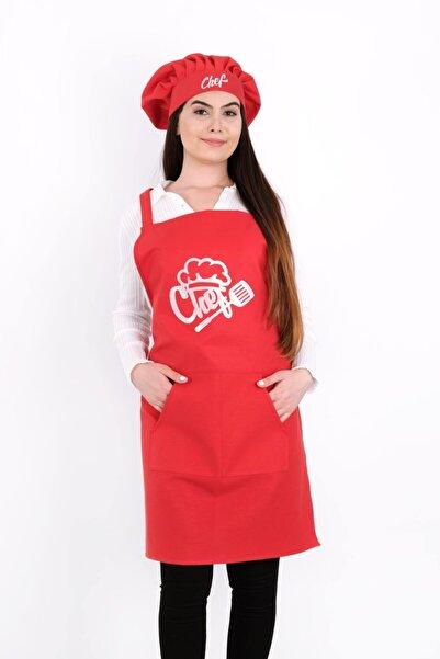 GÜLCÜ Chef Şapkalı Kırmızı Kanguru Mutfak Önlüğü