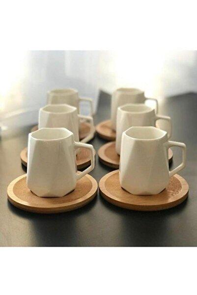 Lavin Bambu Tabaklı Prizma Porselen Kahve Fincanı Takımı