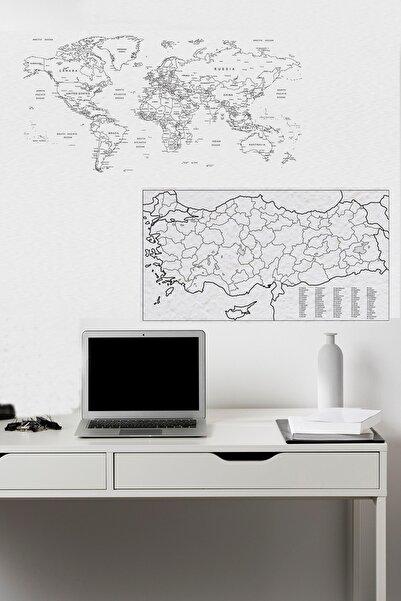 Evbuya Türkiye Ve Dünya Haritası Akıllı Kağıt (silgili Kalem Hediyeli)