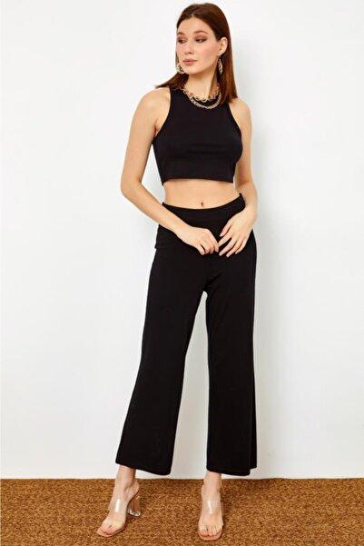 İKİLER Kadın Beli Lastikli Boru Paça Pantolon 021-2003