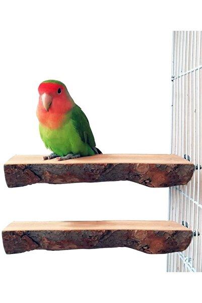 Alyones 2 Paket Kuş Standı Ahşap Eğlence Platformu Doğal Ahşap Tünek
