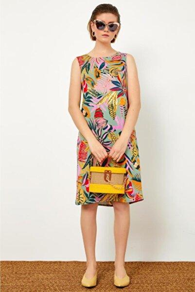 İKİLER Desenli Kolsuz Elbise