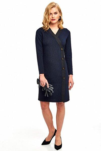 İKİLER Kadın Lacivert Kruvaze Yaka Siyah Şeritli Düğmeli Elbise