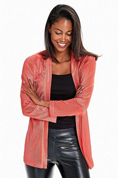 İKİLER Kadın Turuncu Yakası Simli Şeritli Uzun Kol Ceket 190-5000-01
