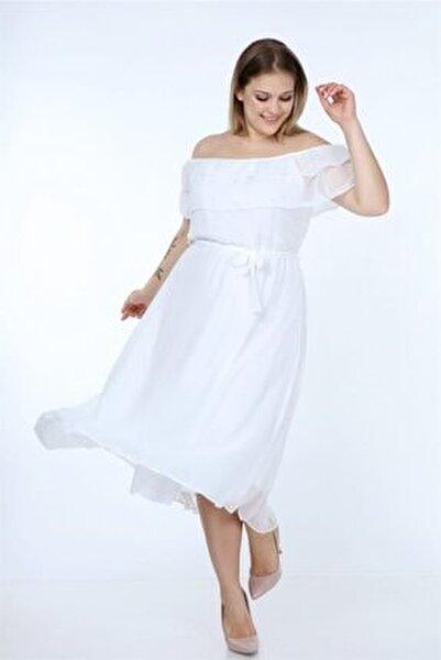 Kadın Madonna Yaka Büyük Beden Şifon Elbise Nb8061