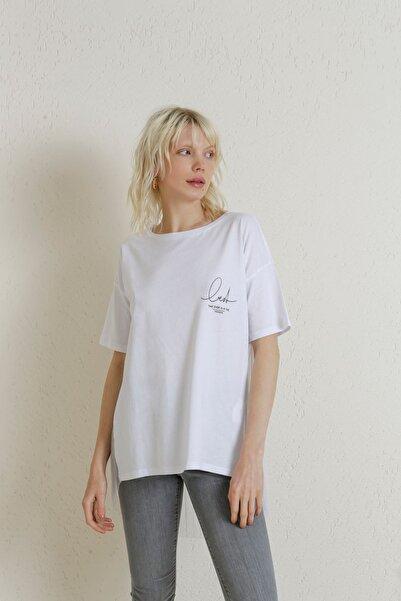 Batik A2122 Arka Beden Piliseli T-shirt Beyaz