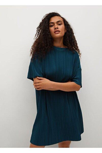 MANGO Woman Kadın Petrol Mavisi Dökümlü Dokuma Elbise