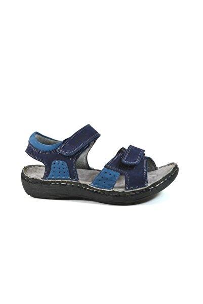 Toddler Hakiki Deri Lacivert Ortopedik Erkek Çocuk Sandalet 26-35