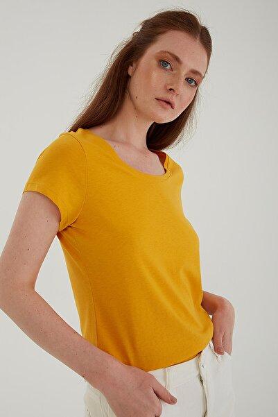 Fashion Friends Havuz Yaka T-shirt Sarı