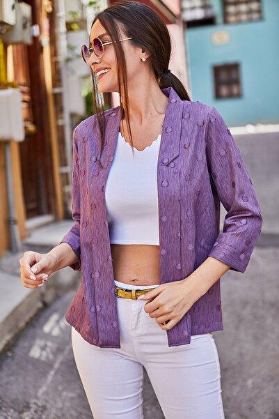 armonika Kadın Mor Kabartmalı Puanlı Blazer Ceket ARM-21Y001030