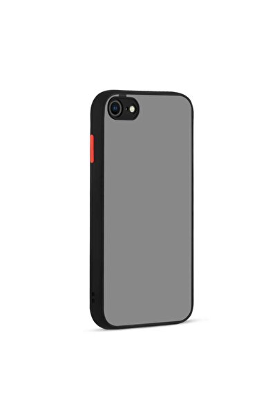 Apple Iphone 7 Uyumlu Kılıf Kamera Korumalı Buzlu Sırt Renkli Kenarlı Tuşlı Silikon