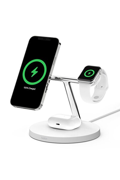 Belkin BoostCharge PRO 3'ü 1 arada MagSafe 15 W Beyaz Stand Kablosuz Hızlı Şarj Cihazı
