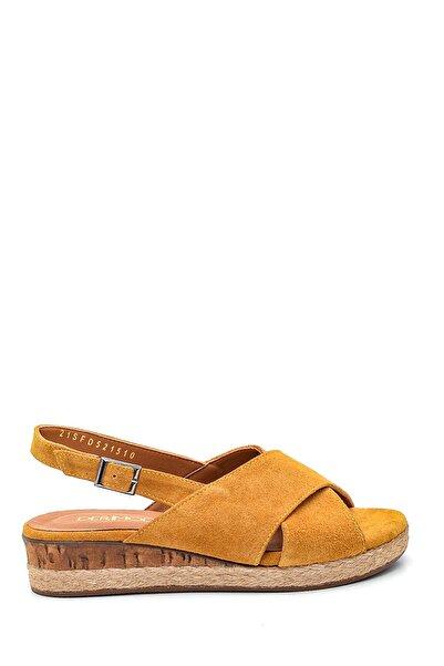 Derimod Kadın Sarı Casual Süet Deri Sandalet