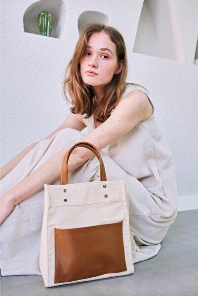 Shule Bags Kadın Garnili Organik Keten Kumaş Çapraz Çanta Pelly Taba
