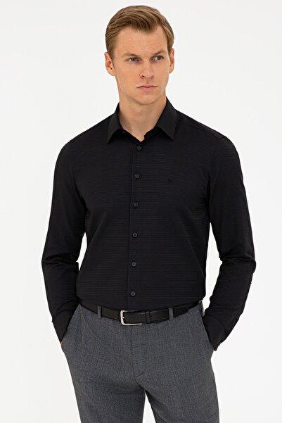 Pierre Cardin Siyah Slim Fit Armürlü Gömlek