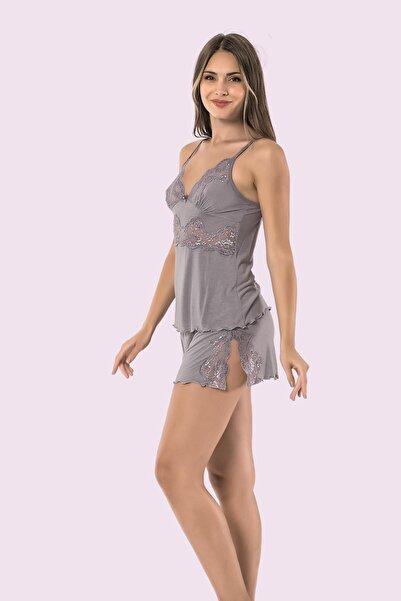 Mariposa Ip Askılı Dantelli Şortu Yırtmaçlı Pijama Takımı