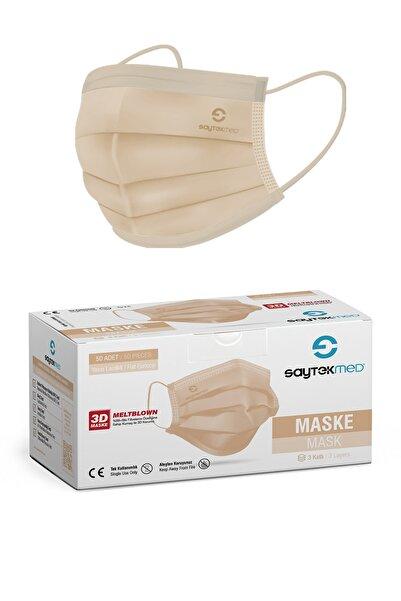 SAYTEKMED Ten Rengi Meltblown Filtreli Yassı İpli Cerrahi Maske 1kutu/50 Adet