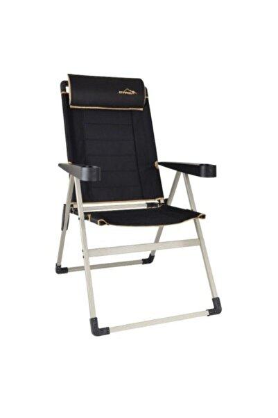 NURGAZ Unisex Siyah Campout Katlanır Lüx Sandalye