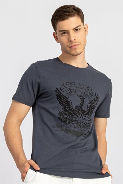 Tudors Slim Fit Dar Kesim Baskılı Basic Bisiklet Yaka Koyu Gri Erkek T-shirt