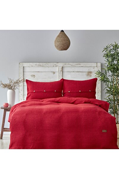 Karaca Home Coline Kırmızı Çift Kişilik Triko Yatak Örtüsü Seti